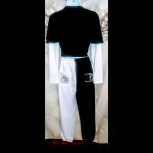 Vintage black and white sweat/track suit.